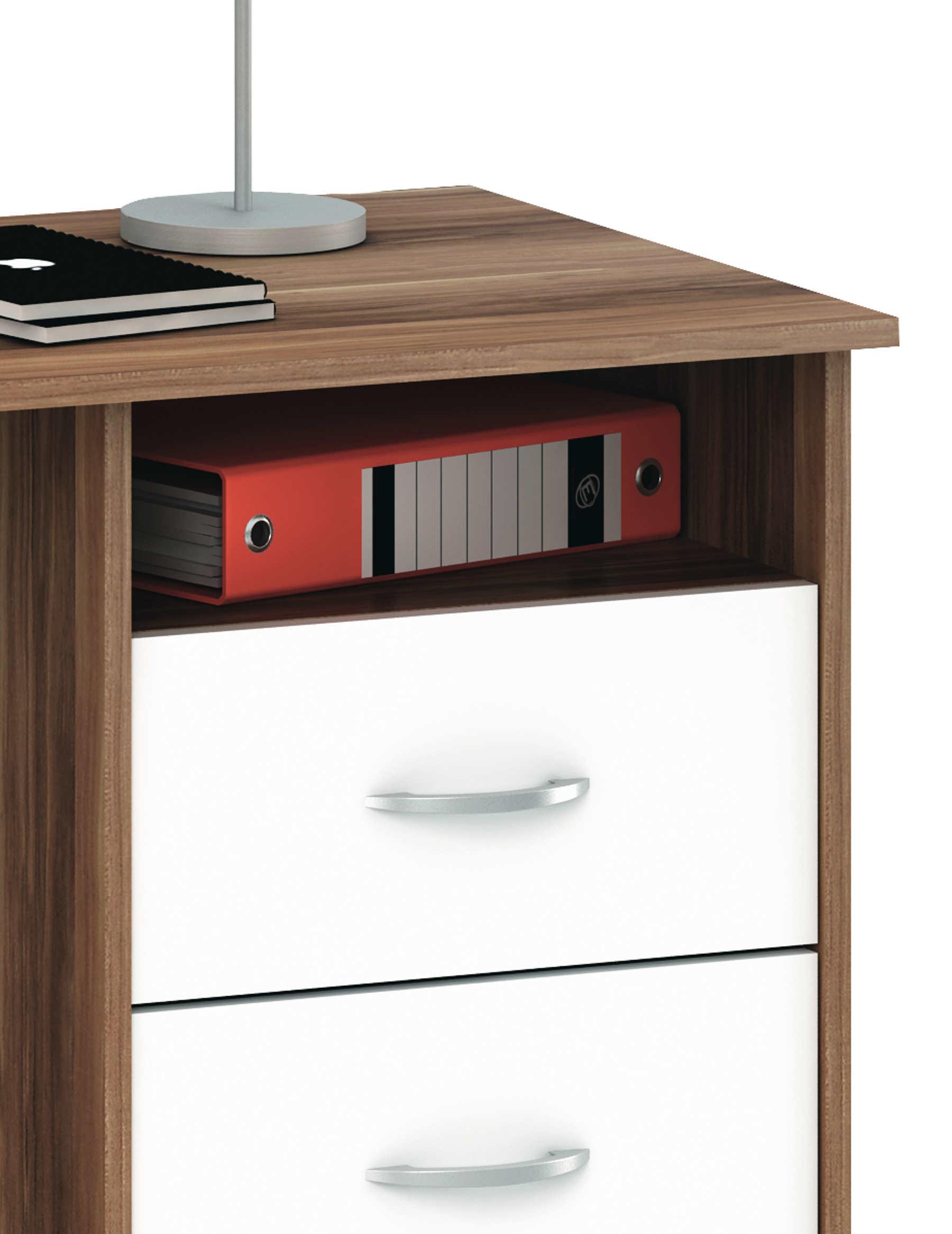 schreibtisch aristote merano nussbaum wei mit drei schubk sten ebay. Black Bedroom Furniture Sets. Home Design Ideas