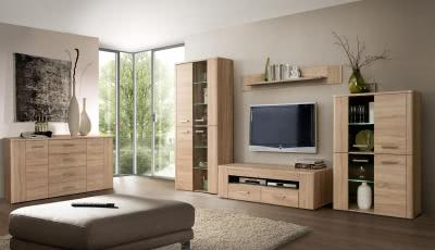 belmondo wohnwand inkl beleuchtung sonoma eiche wenge. Black Bedroom Furniture Sets. Home Design Ideas