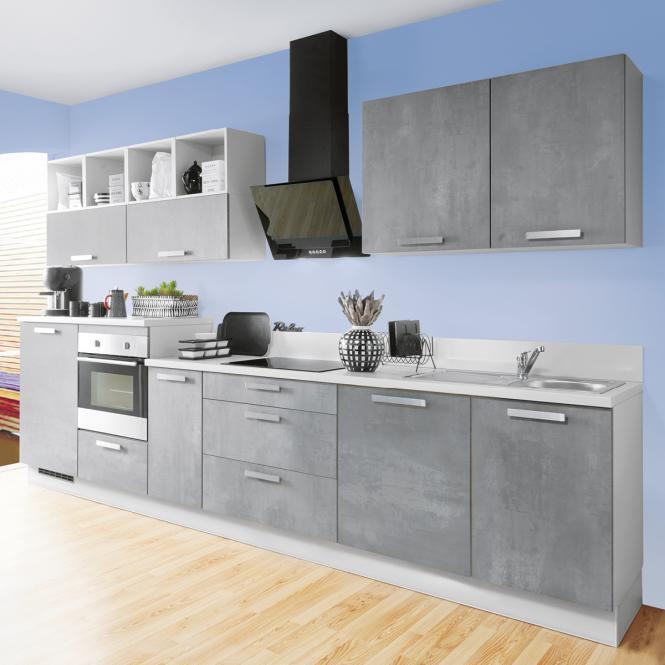 Einbauküche CELINE 126 inkl E-Geräte 350 cm von Burger Grau Betonoptik