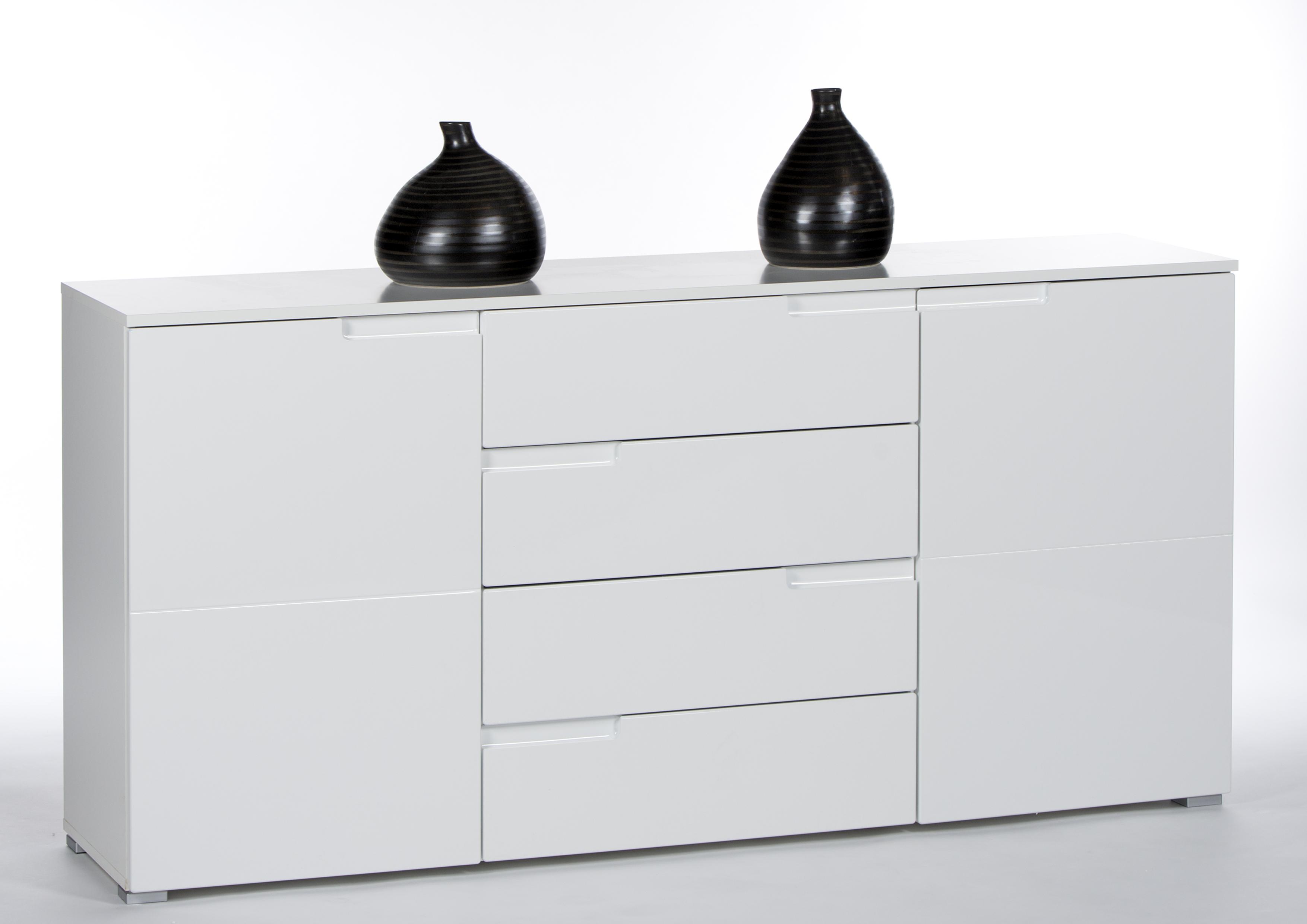 sideboard weiss hochglanz mit 2 t ren und 4 schubk sten. Black Bedroom Furniture Sets. Home Design Ideas