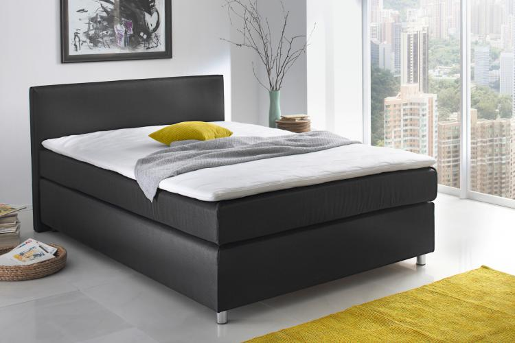 katja boxspringbett 140x200 cm schwarz boxspringbett bett doppelbett boxspring. Black Bedroom Furniture Sets. Home Design Ideas