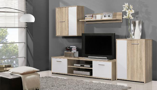 paco wohnwand sonoma eiche dekor b h t 220 170 42. Black Bedroom Furniture Sets. Home Design Ideas