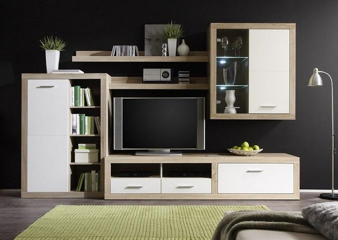 clifton anbauwand eiche sonoma wei b h t 292 189 48. Black Bedroom Furniture Sets. Home Design Ideas